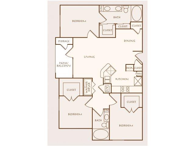 1,329 sq. ft. Teak floor plan