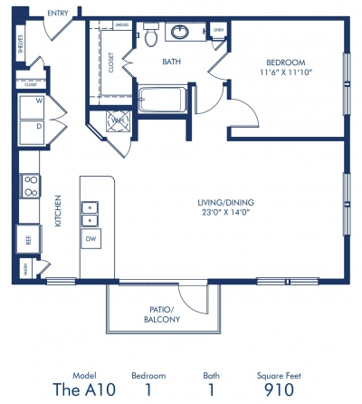 910 sq. ft. A10 floor plan
