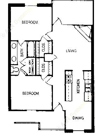 834 sq. ft. Earl floor plan