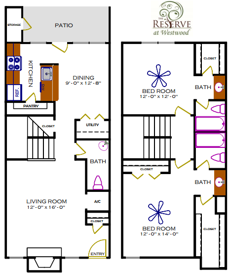 1,332 sq. ft. G/Sequoia floor plan