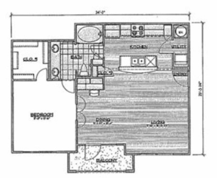 801 sq. ft. A1/Bailey floor plan