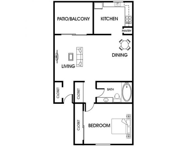 718 sq. ft. A4 floor plan