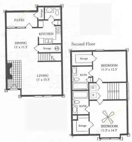 1,098 sq. ft. B4 floor plan