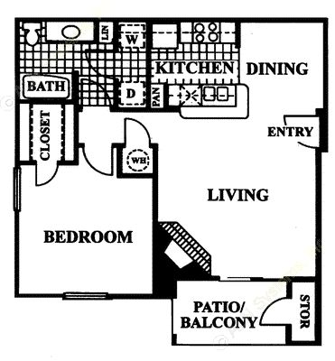 738 sq. ft. Capri floor plan
