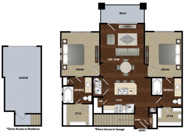 1,091 sq. ft. B1G floor plan