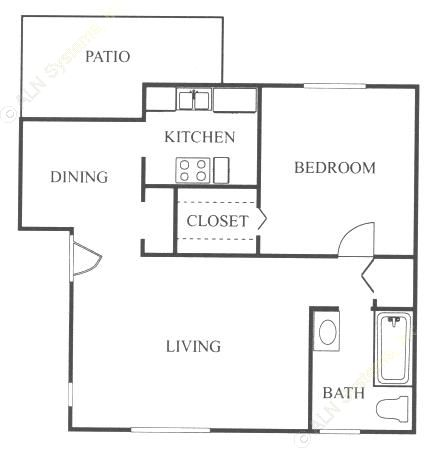710 sq. ft. A2 floor plan