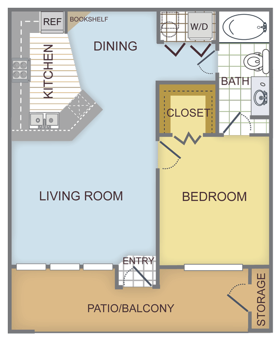 684 sq. ft. CYPRESS floor plan