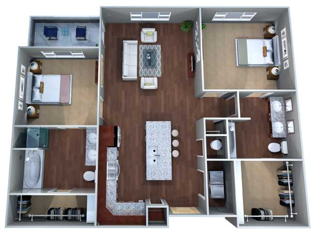 1,076 sq. ft. 2A floor plan