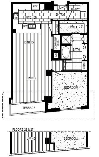 1,119 sq. ft. B floor plan