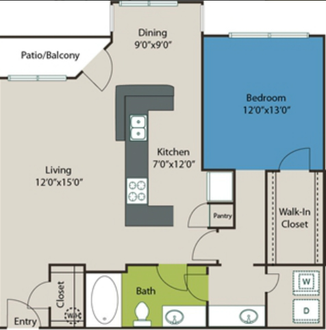 947 sq. ft. A8 floor plan