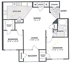 963 sq. ft. Red Oak floor plan