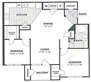 963 sq. ft. Red Oak floor plan