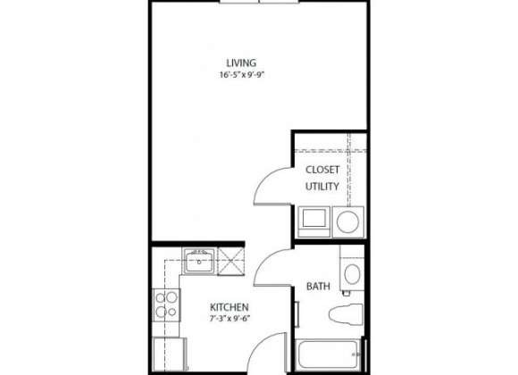 493 sq. ft. E1 PH3 floor plan
