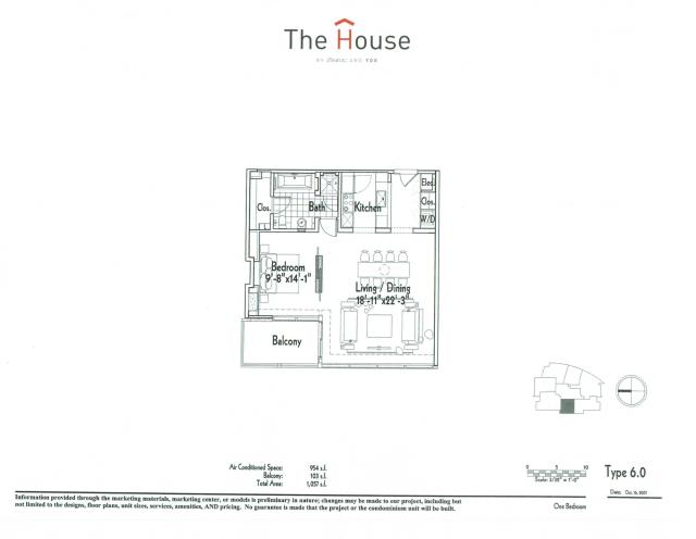 954 sq. ft. 6 floor plan