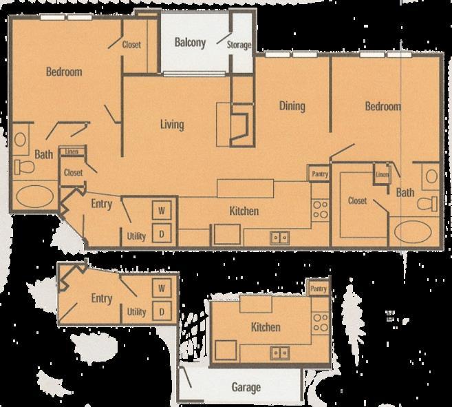 1,094 sq. ft. B4 floor plan