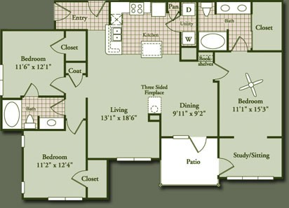 1,500 sq. ft. SUNSTONEG2 floor plan