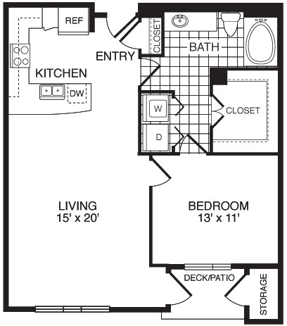 870 sq. ft. F1A floor plan
