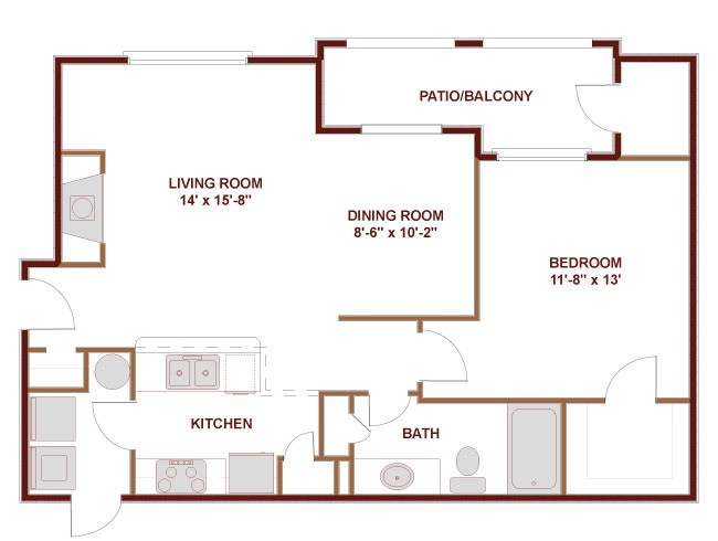 793 sq. ft. to 844 sq. ft. 11C floor plan