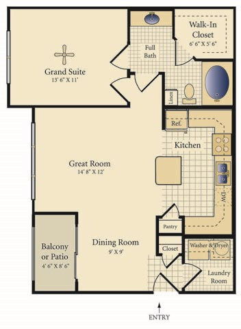 763 sq. ft. Avila floor plan