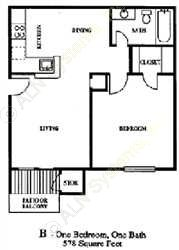 578 sq. ft. A2 floor plan