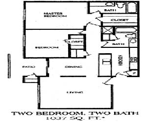 1,037 sq. ft. 2BA floor plan