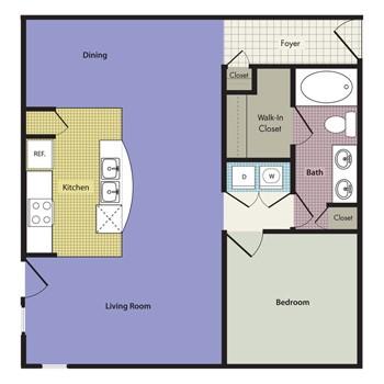 883 sq. ft. Cecina floor plan