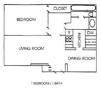 775 sq. ft. A floor plan