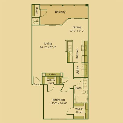 878 sq. ft. 1B floor plan