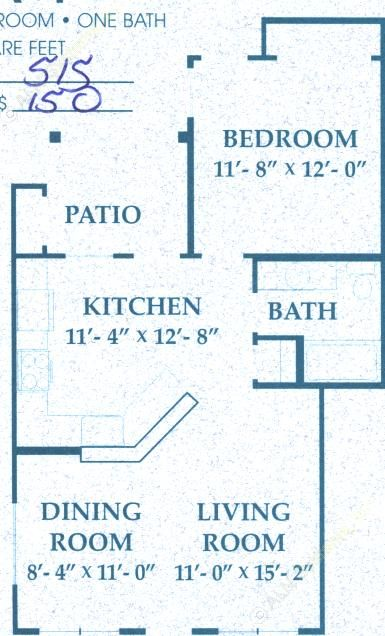 684 sq. ft. A1/50% floor plan