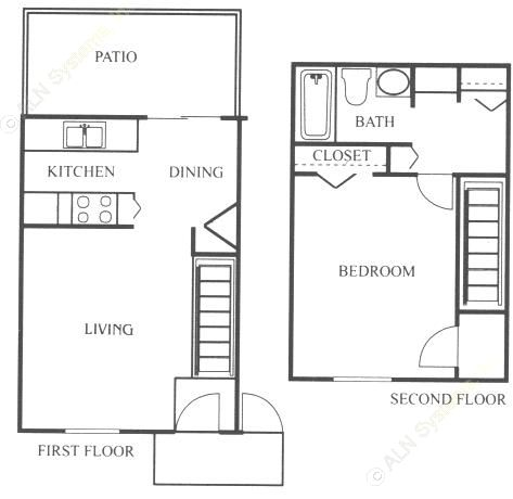 690 sq. ft. A3 floor plan