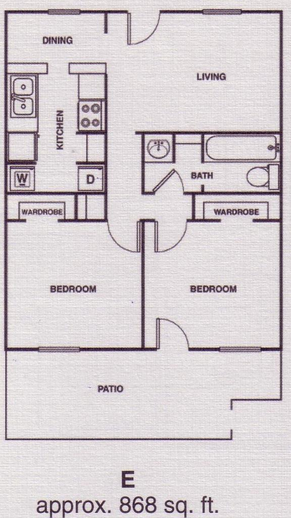 868 sq. ft. C1 floor plan
