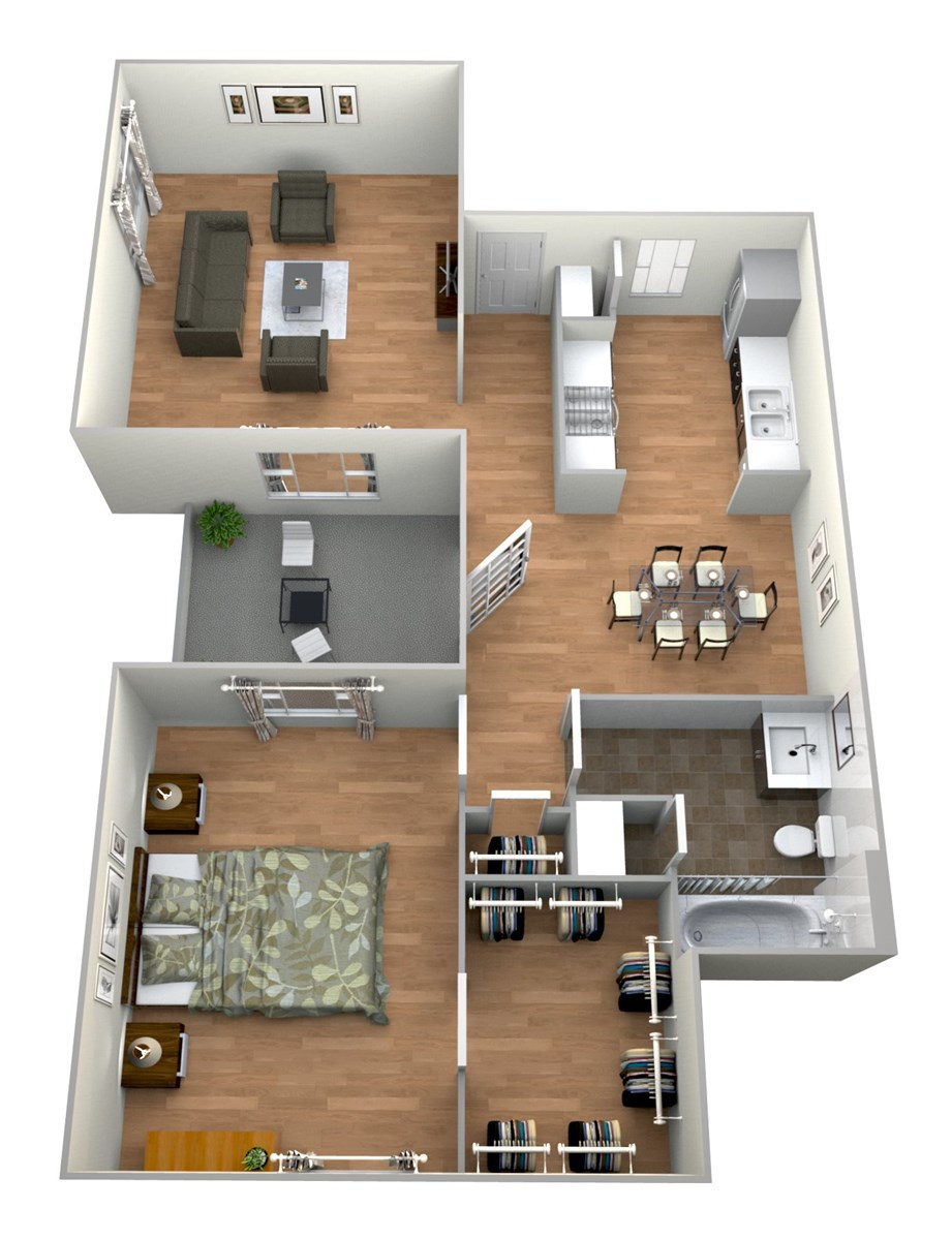 752 sq. ft. 1x1 F floor plan