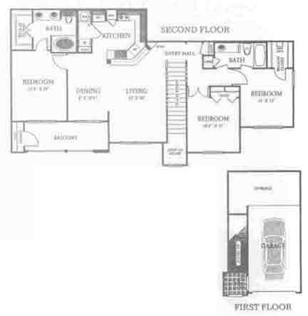 1,323 sq. ft. C1 floor plan