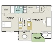 676 sq. ft. Morgan floor plan