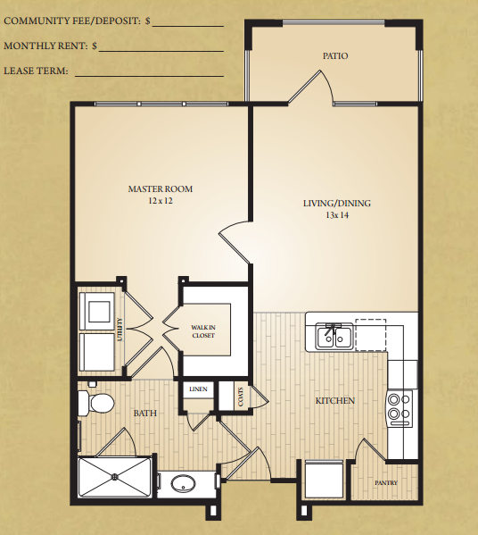 625 sq. ft. Brazos floor plan
