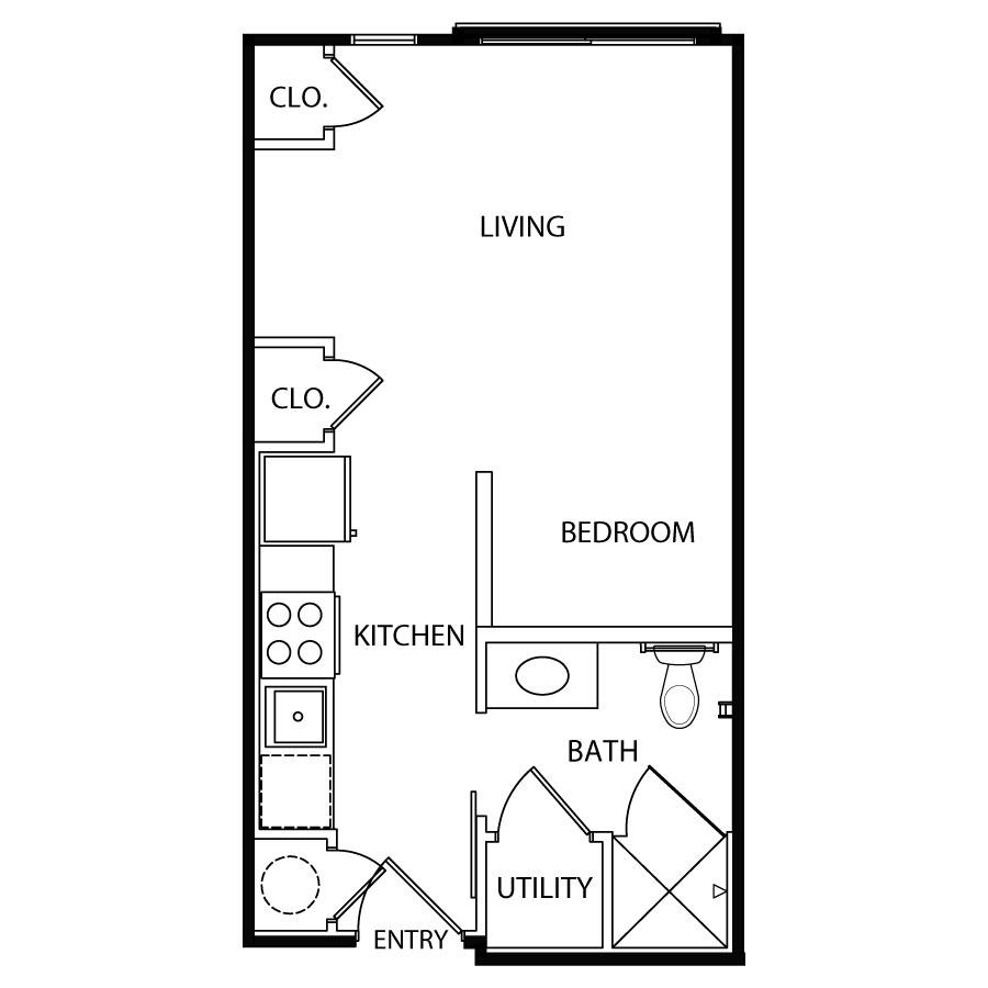 393 sq. ft. E1/60% floor plan