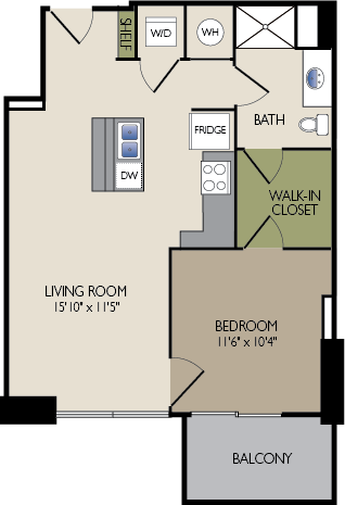 681 sq. ft. D2 floor plan