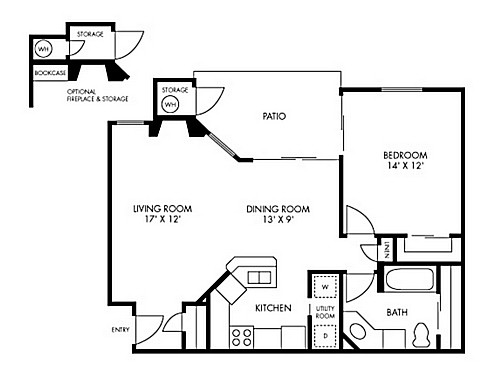 744 sq. ft. to 761 sq. ft. Bryce floor plan