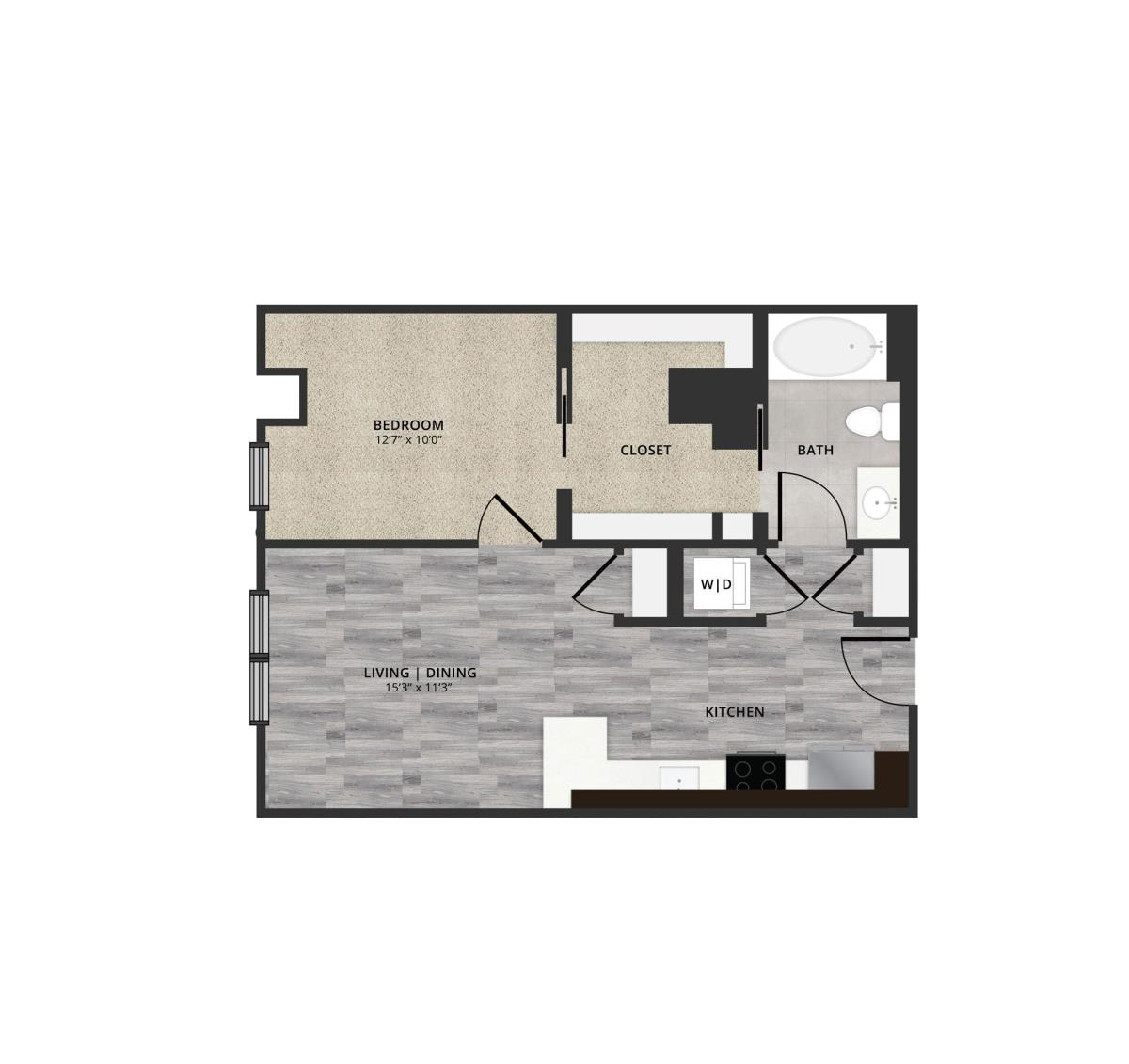 677 sq. ft. A3 floor plan