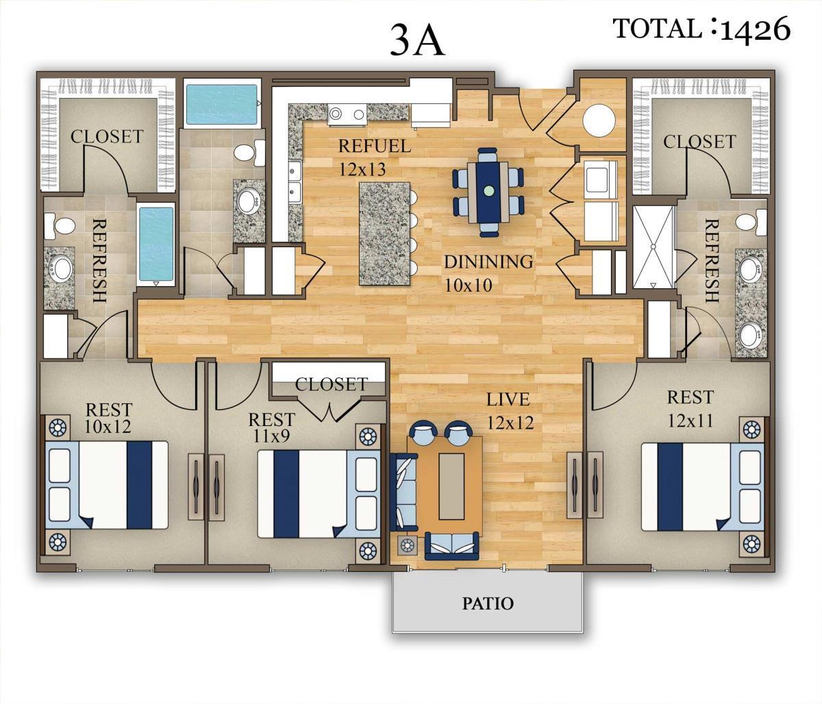 1,426 sq. ft. 3A floor plan