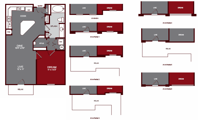 764 sq. ft. A1 floor plan