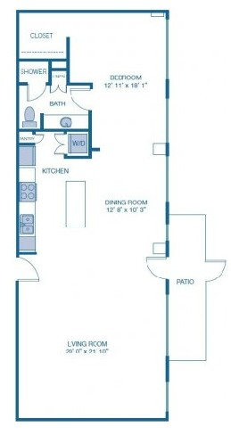 1,138 sq. ft. E2 floor plan