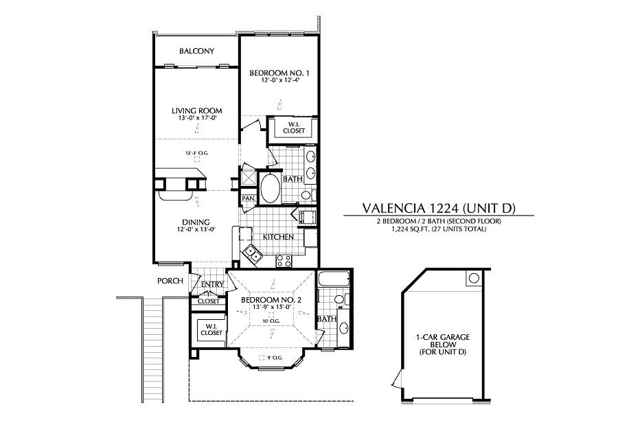1,224 sq. ft. D floor plan