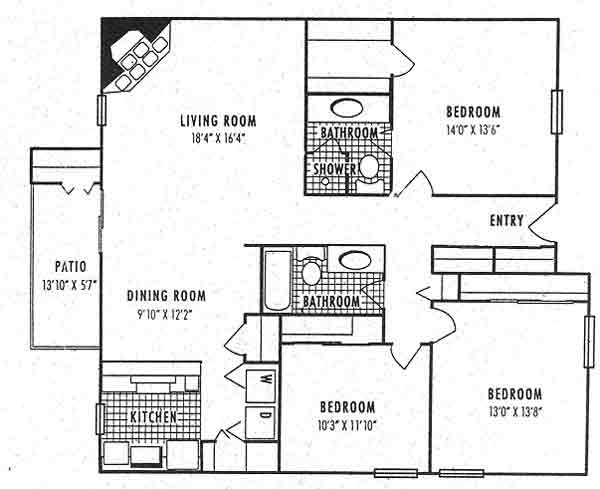1,495 sq. ft. 3C floor plan