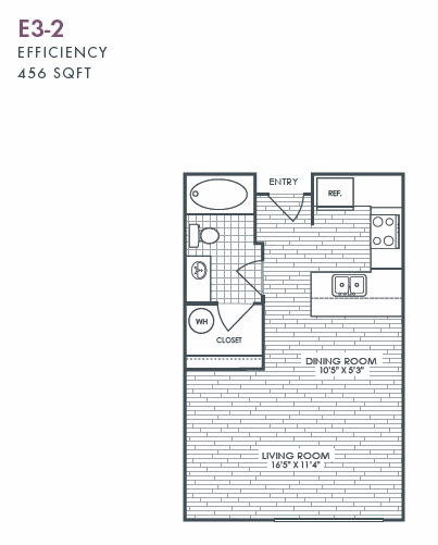 456 sq. ft. E3-2 floor plan