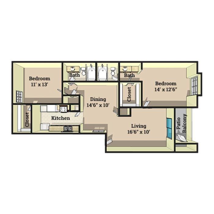 998 sq. ft. floor plan