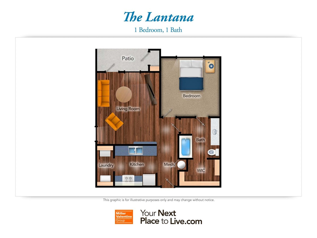 746 sq. ft. Lantana 60% floor plan
