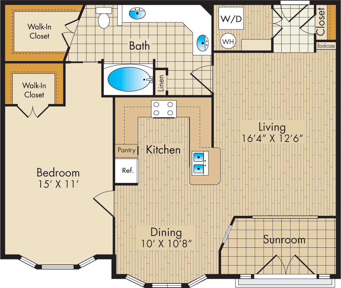 933 sq. ft. C/SUN floor plan