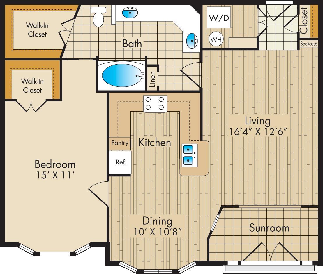 933 sq. ft. C/SUN floor plan