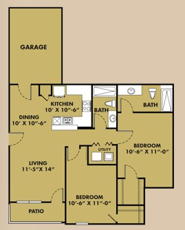 1,051 sq. ft. B1 Garage floor plan